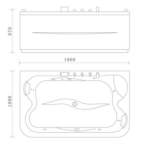 FSHN: Massage BathTub: 1800x1090x670mm : White #D-3181