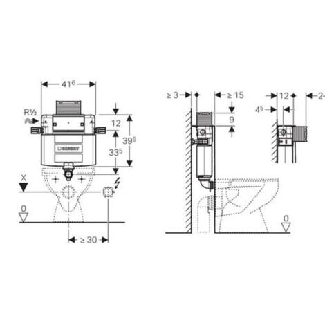 Geberit: Omega Concealed Cistern: 12cm,6/3Ltr  #109.043.00.1