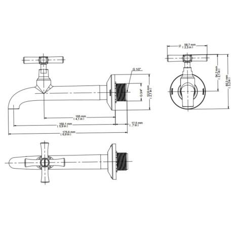 Docol: 1158 Pertutti: Bib Tap For Sink 1/2 ,3/4,CP#00224706