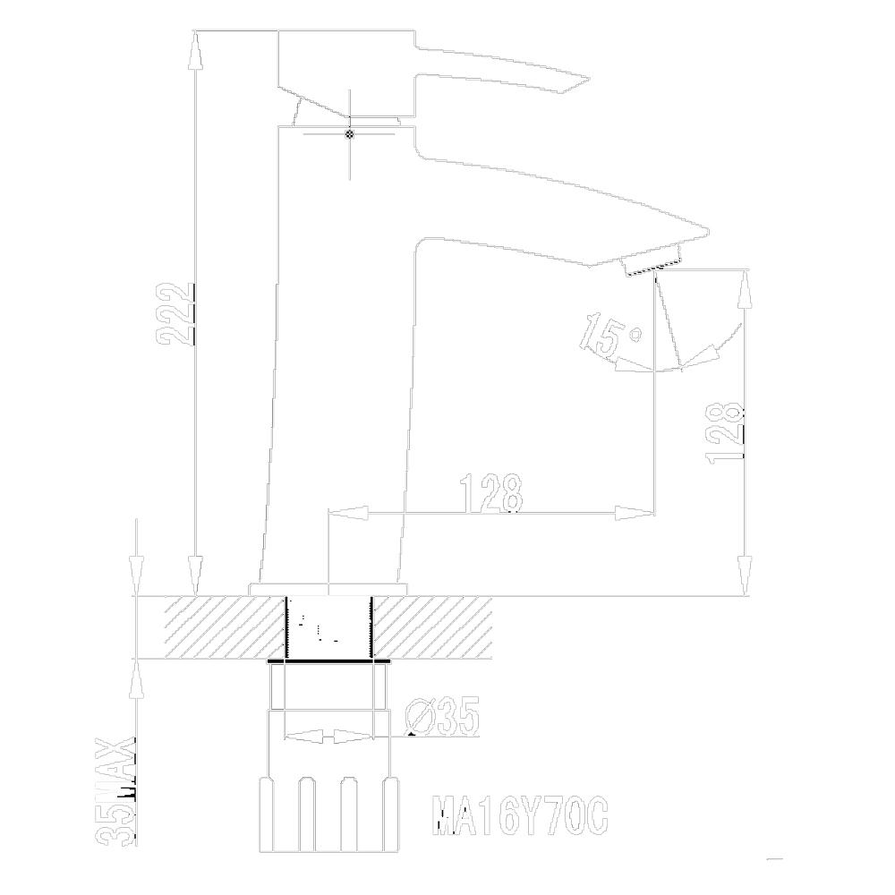 Tapis Truda: Basin Mixer: Medium Neck CP W/O Pop-Up#MA16Y70C
