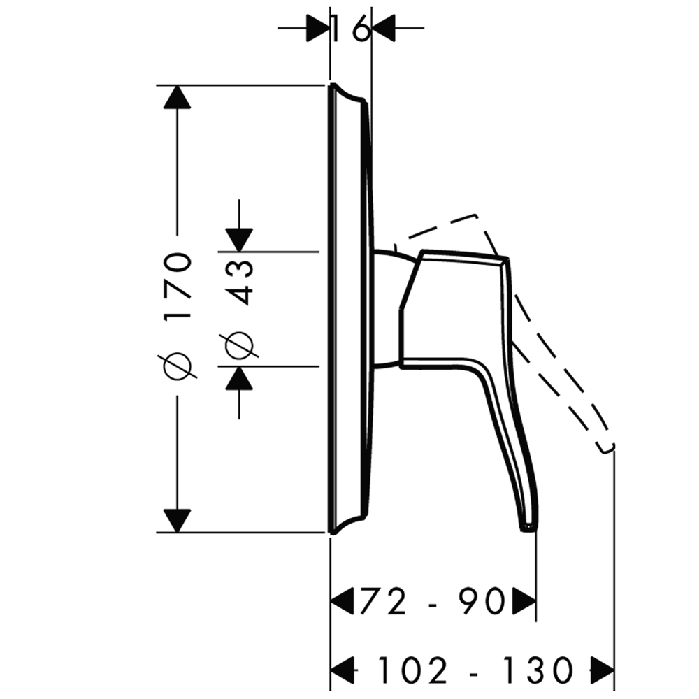 Hansgrohe Metris Classic : Finish Set, S/L, 3-way: CP #31676