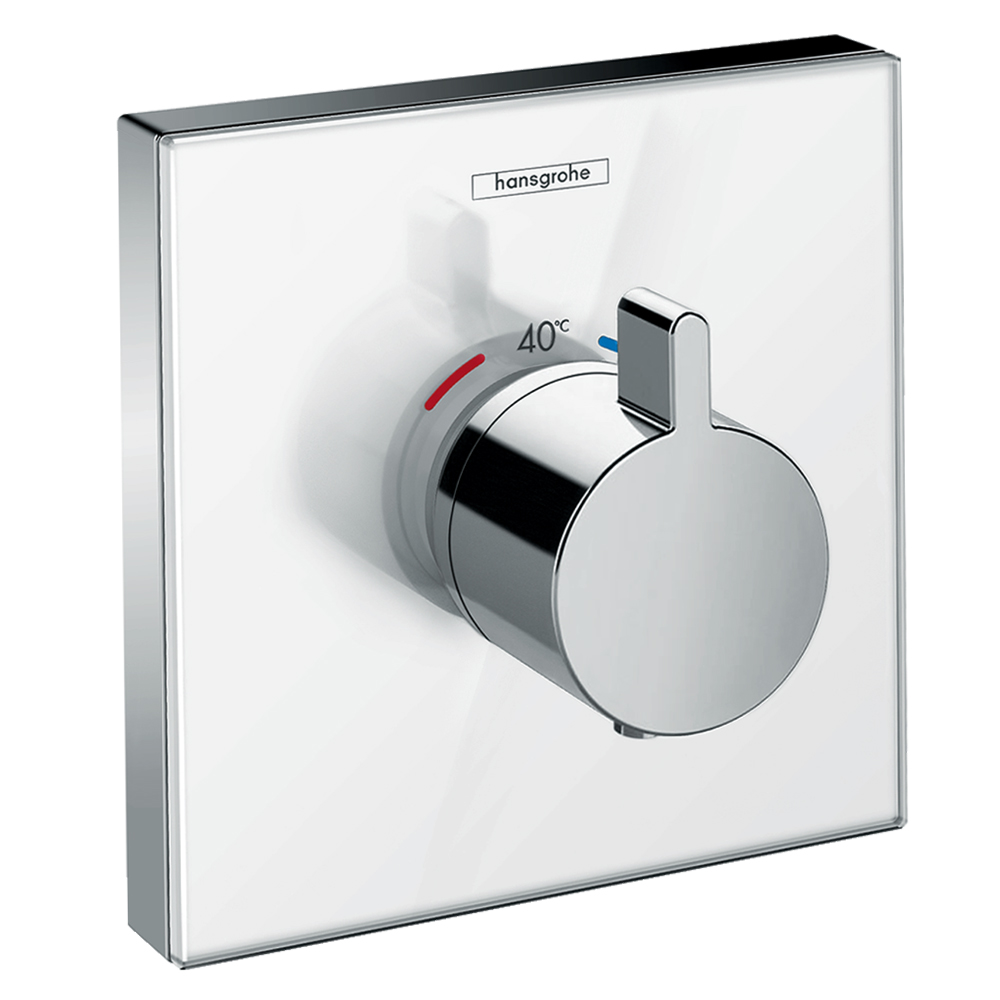 Hansgrohe Shower Select: Glass Thermostatic Mixer For Concealed Installation, Highflow; White C