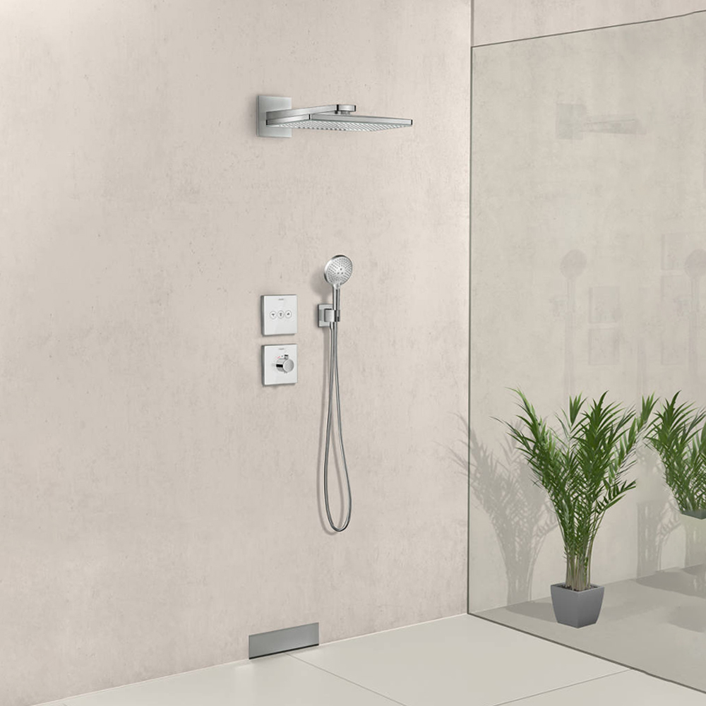 Hansgrohe Shower Select: Glass Thermostatic Mixer For Concealed Installation, Highflow; White C.P #15734400