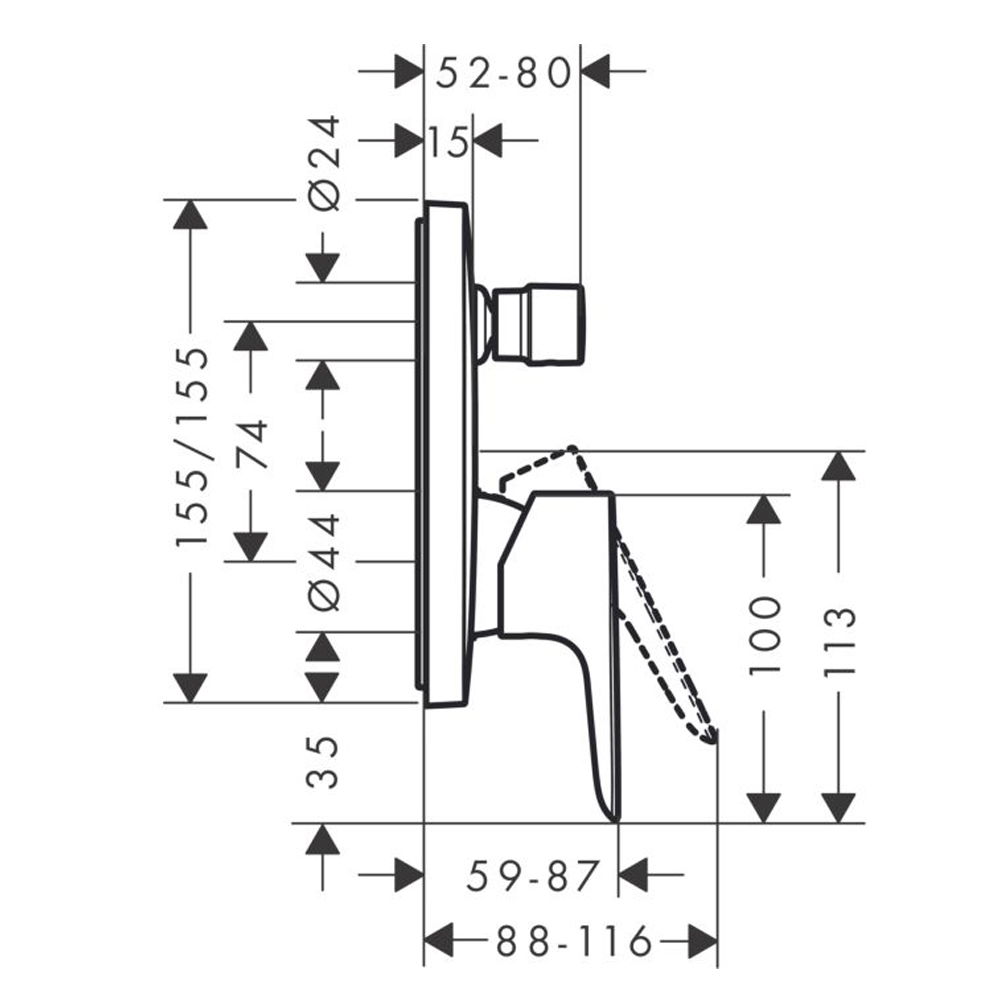 Hansgrohe Talis E: 3-Way Finish Set For Conc. Shower Mixer, Matt Black #71765670