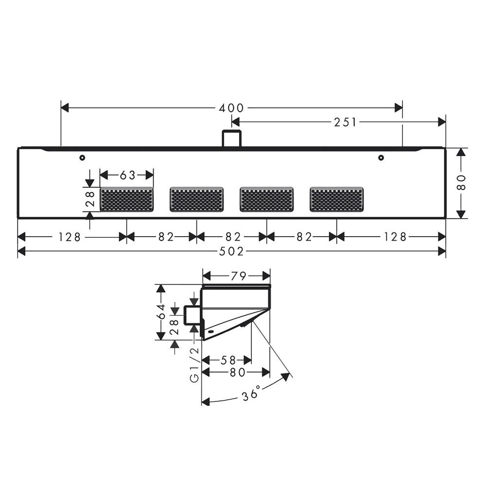 Hansgrohe Rainfinity 500: Shoulder Shower And Shelf; 1-Jet: Matt White #26243700
