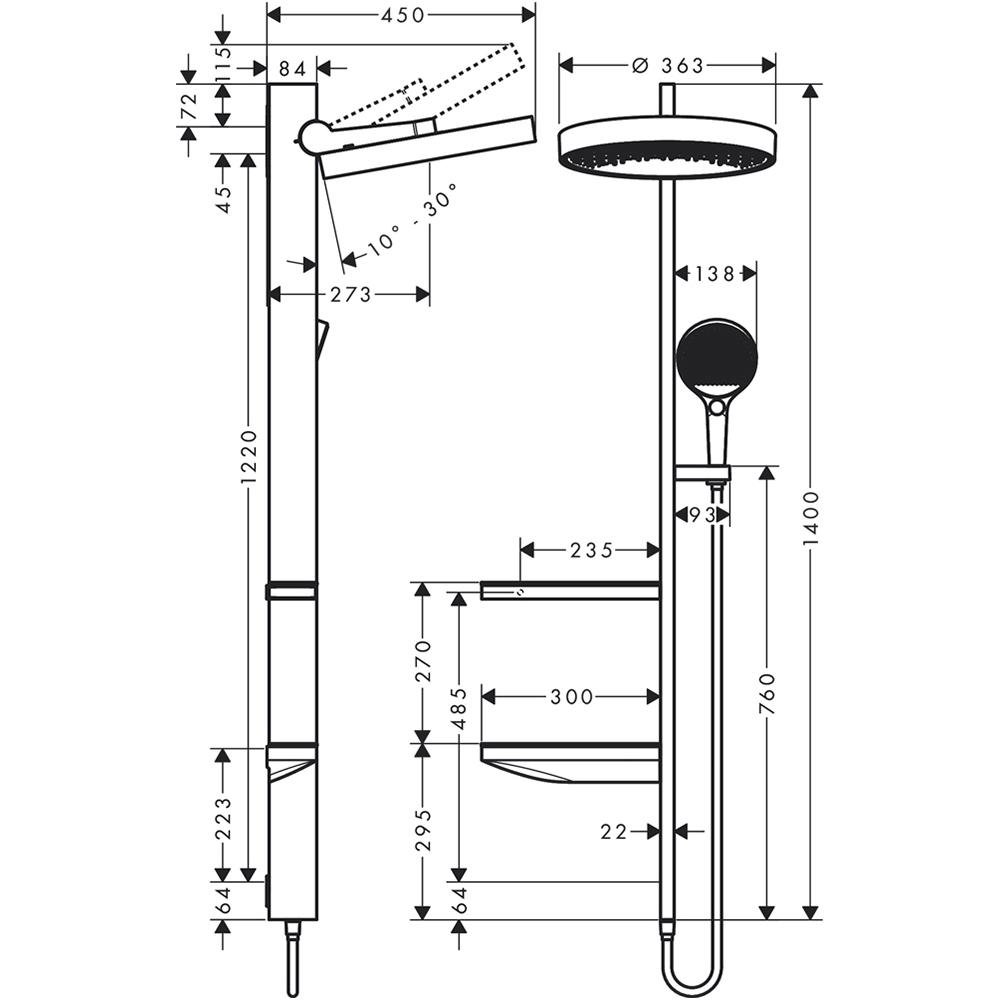 Hansgrohe Rainfinity 360: 1-Jet Shower Pipe, C.P. #26842000