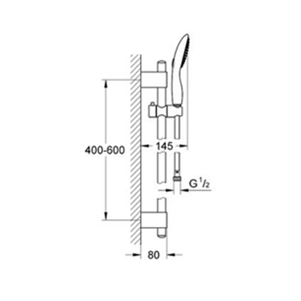 Hansgrohe Croma: Shower Kit: Sliding Rail, 1 Jet, CP #27757