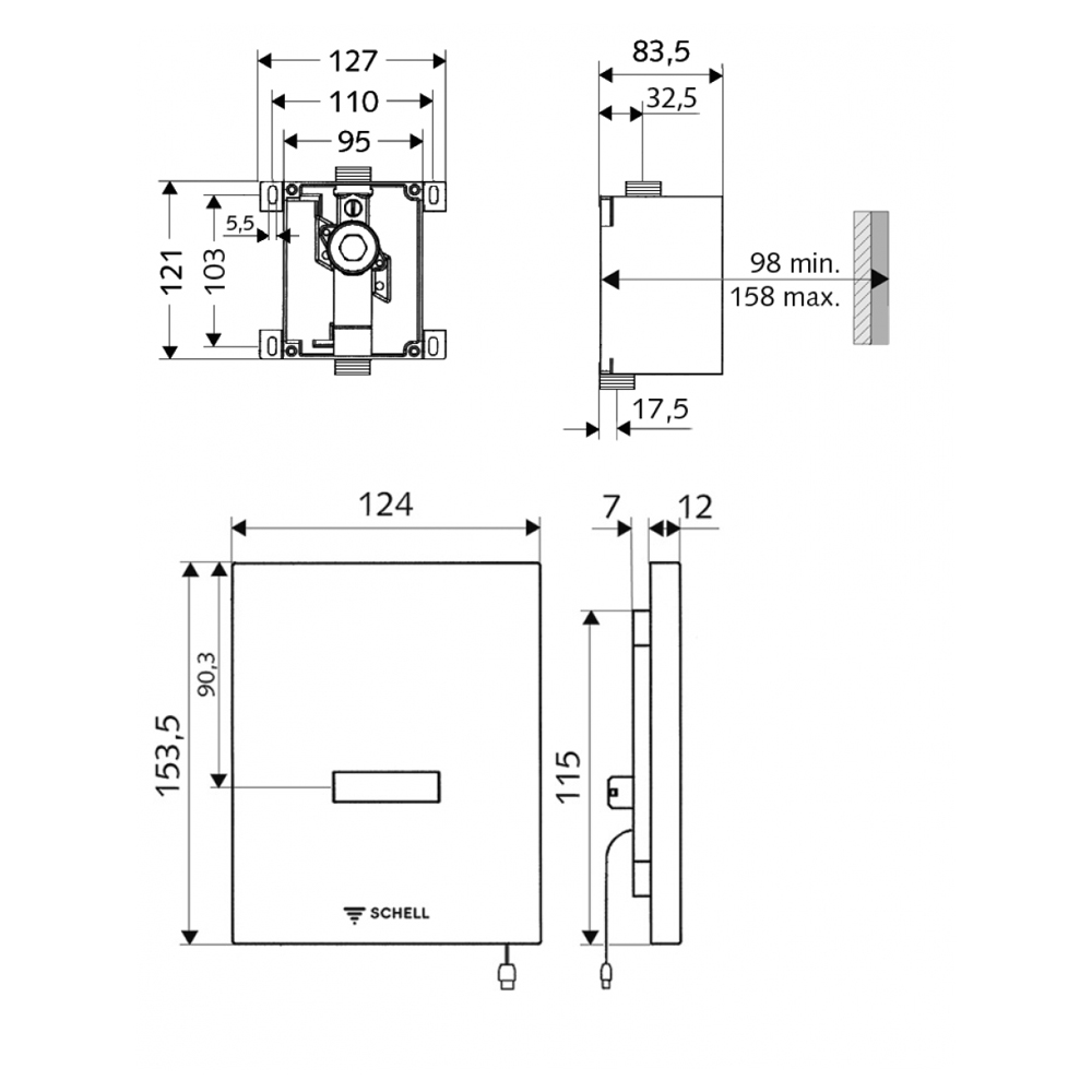 """Schell: Compact II Concealed UrinalFlush Valve Body, ½"""" #011930099"""