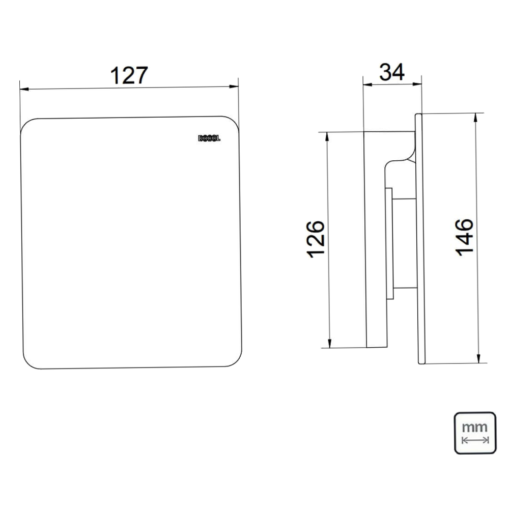 DocolFlat: Concealed Cover Plate For Flush Valve, C.P. #00931706