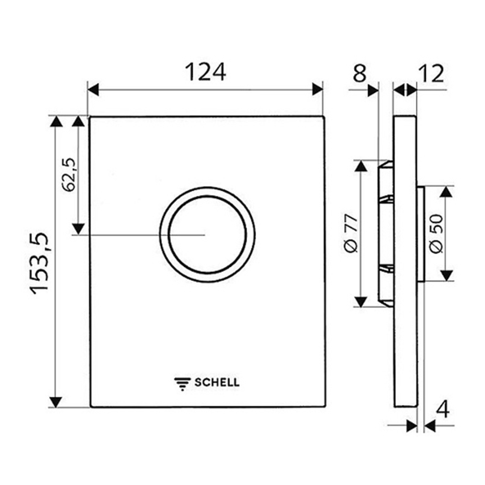 Schell: S/Steel Design Operating Panel For Urinal Concealed Flush Valve COMPACT II #028012899