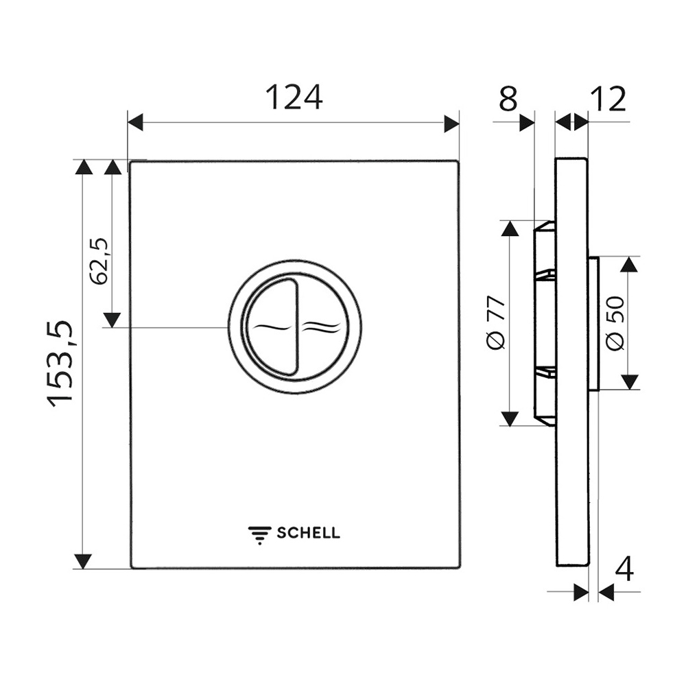 Schell: EDITION Eco ND Low Pressure Operating Panel For WC Concealed Flush Valve, C.P. #028140699