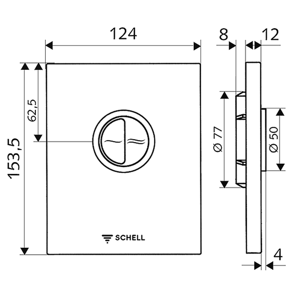 Schell: EDITION Eco Low Pressure Operating Panel For WC Concealed Flush Valve, S.Steel #028142899