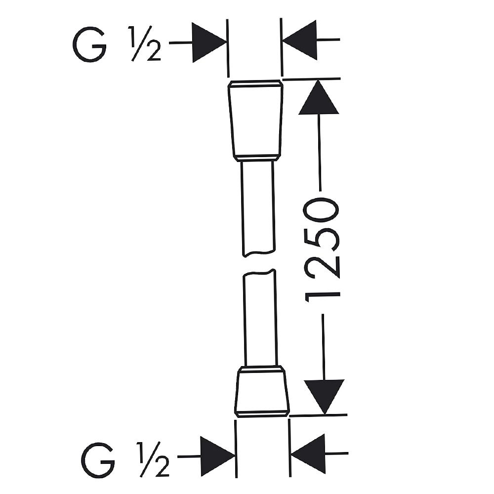 Hansgrohe Comfortflex: Flexible Shower Hose: 1.25m C.P. #28167000
