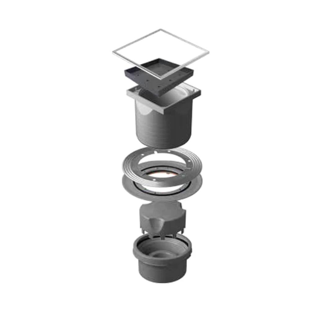 Confluo Ceramic 4 Large Horizontal Outlet Shower Drain, 15x15cm #13000088 1