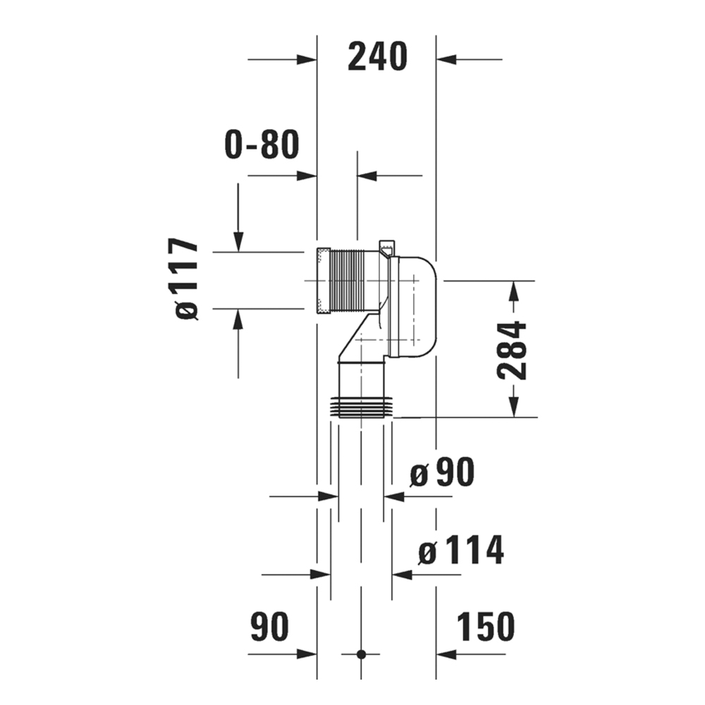 Duravit: Vario Connecting Bend For Vertical Outlet #8990250000