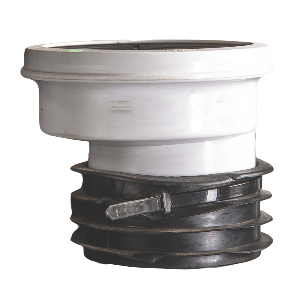 UK : WC Connector : 4in, White, PVC, Offset 1