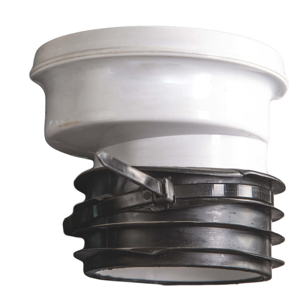 UK : WC Connector : 4in, White, PVC, Offset
