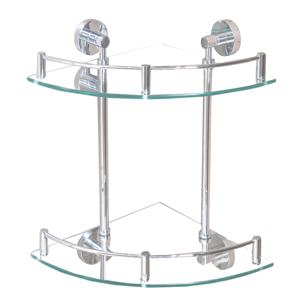 DALI: Double Corner Bathroom Shelf, Glass: CP #TMA9225 1