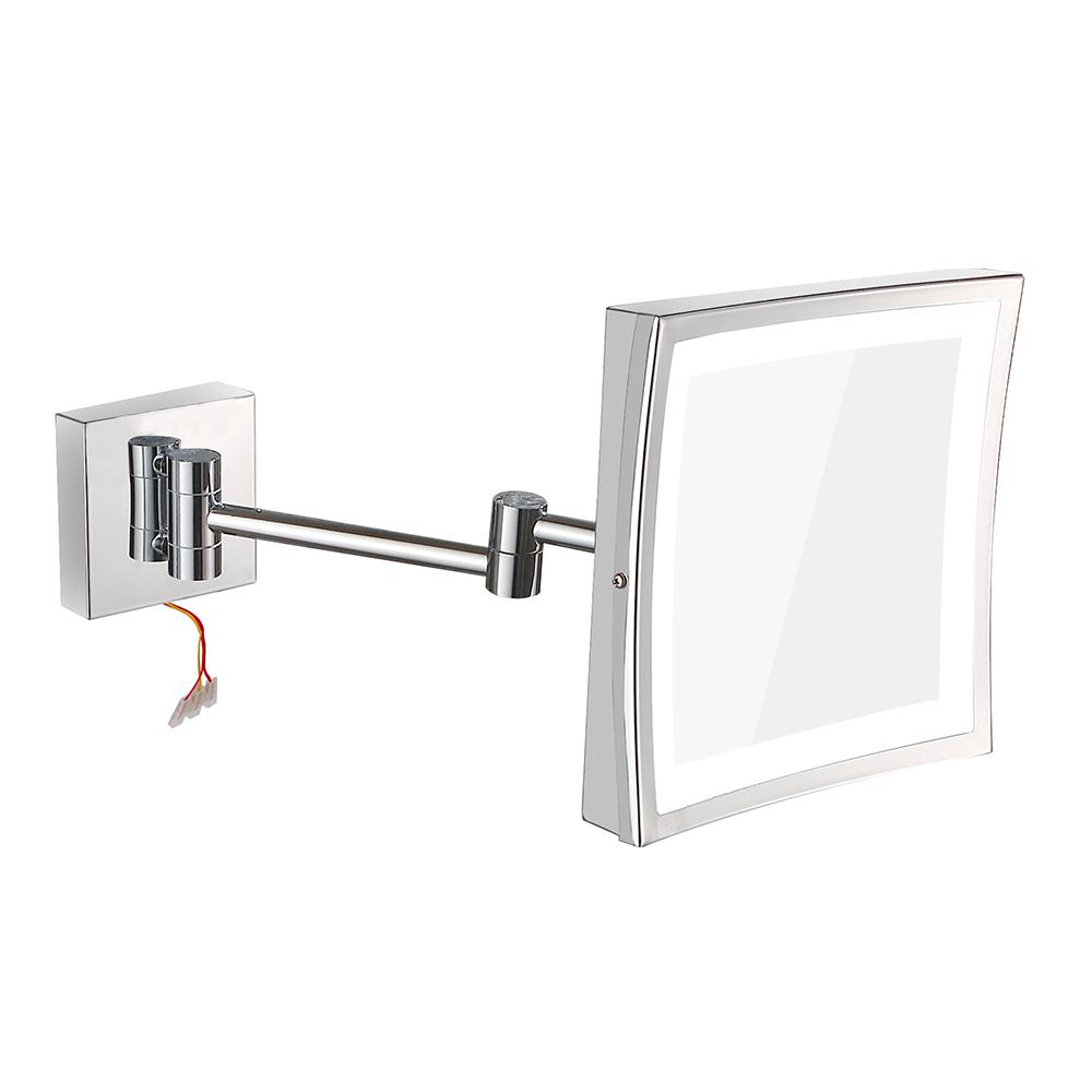 TAPIS: Shaving Mirror With Led Light, Brass Frame #1802D 1