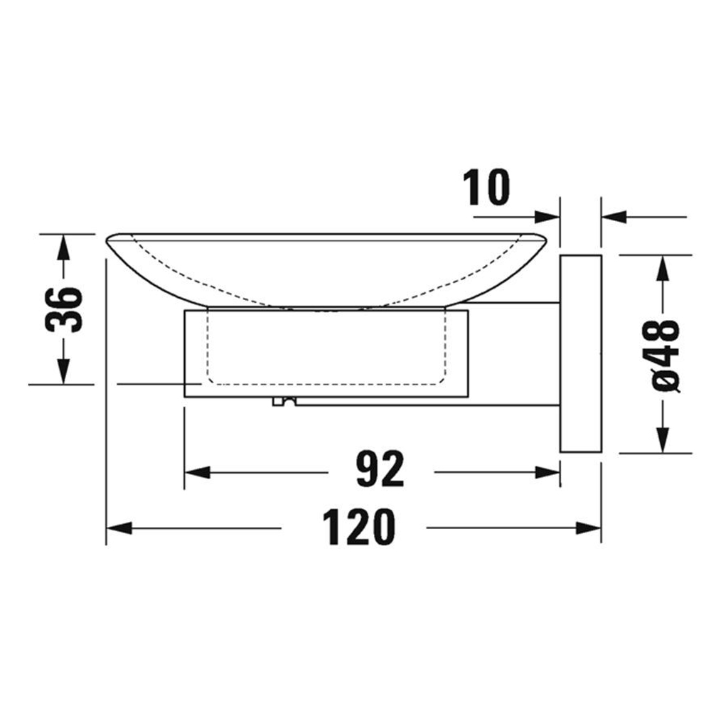 Duravit: D-Code: Soap Dish: Glass, Chrome  #0099181000