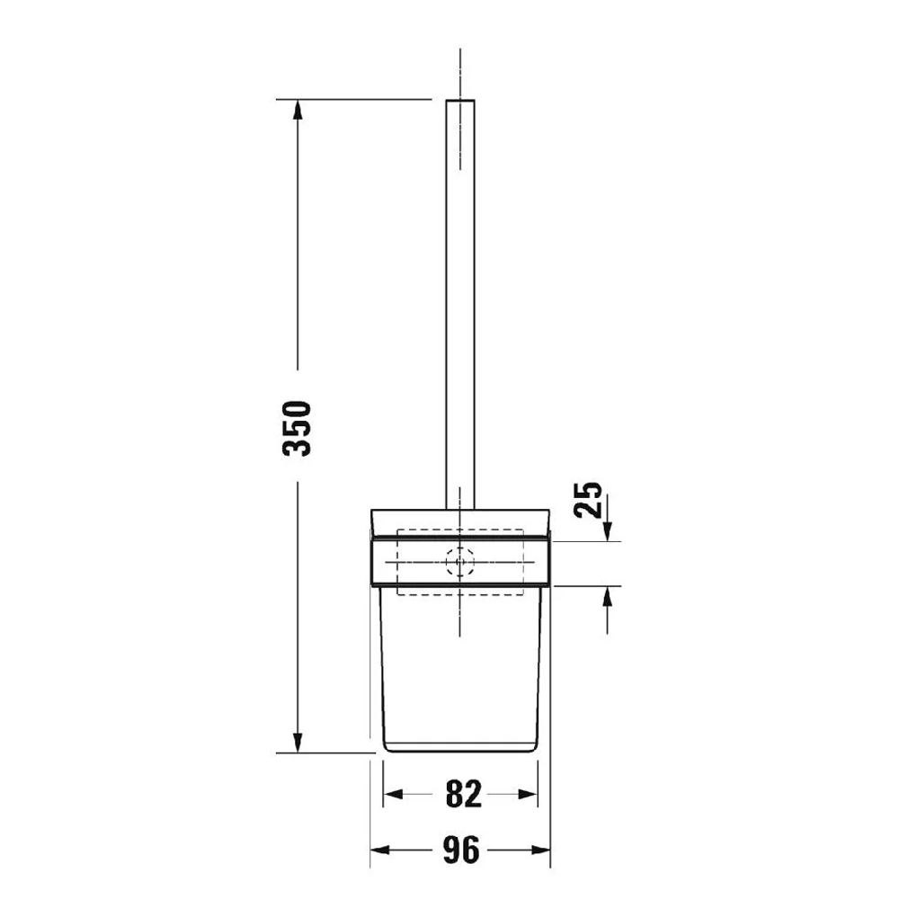 Duravit: Karree: Toilet Brush + Holder, C.P #0099571000