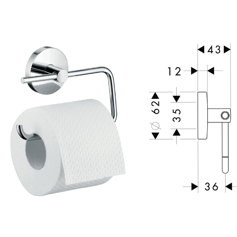 Hansgrohe Logis: Toilet Paper Roll Holder Without Cover C.P #40526000