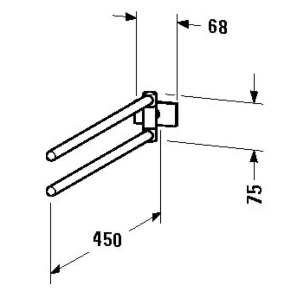 Duravit: Karree: Twin Towel Rail: 45cm, Chrome #0099581000