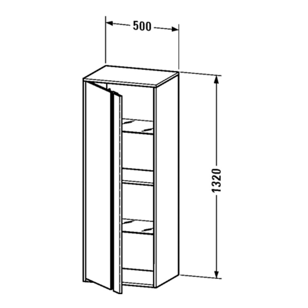 Duravit: Ketho: Tall Cabinet: 1320x500x360mm #KT1267R1818