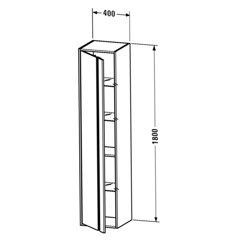 Duravit: Ketho: Tall Cabinet: Left Hinged; 180x40x36cm Graphite Matt #KT1255L4949