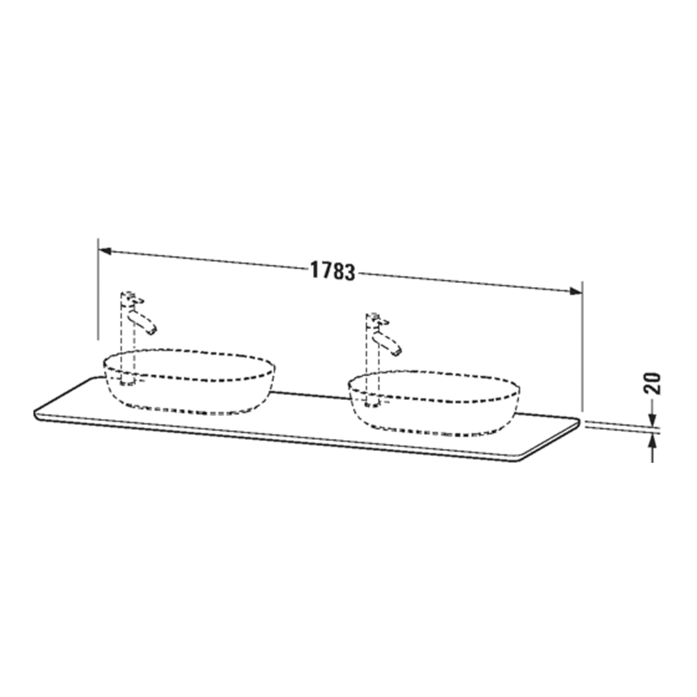 Duravit: Luv: Variable Console For #37960 2-Cut Outs And 1 Tap Hole, Grey #LU9467B3333