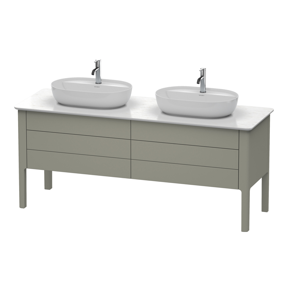 Duravit: Luv: Vanity Unit For Console With Cut-Out For Siphon, 80cm Stone Grey Satin Matt #LU9567B9292 1