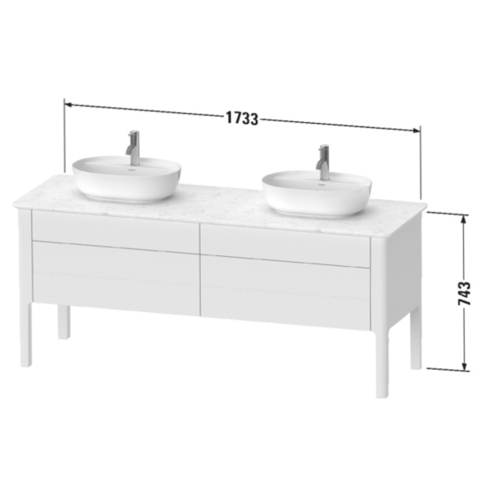 Duravit: Luv: Vanity Unit For Console With Cut-Out For Siphon, 80cm Stone Grey Satin Matt #LU9567B9292