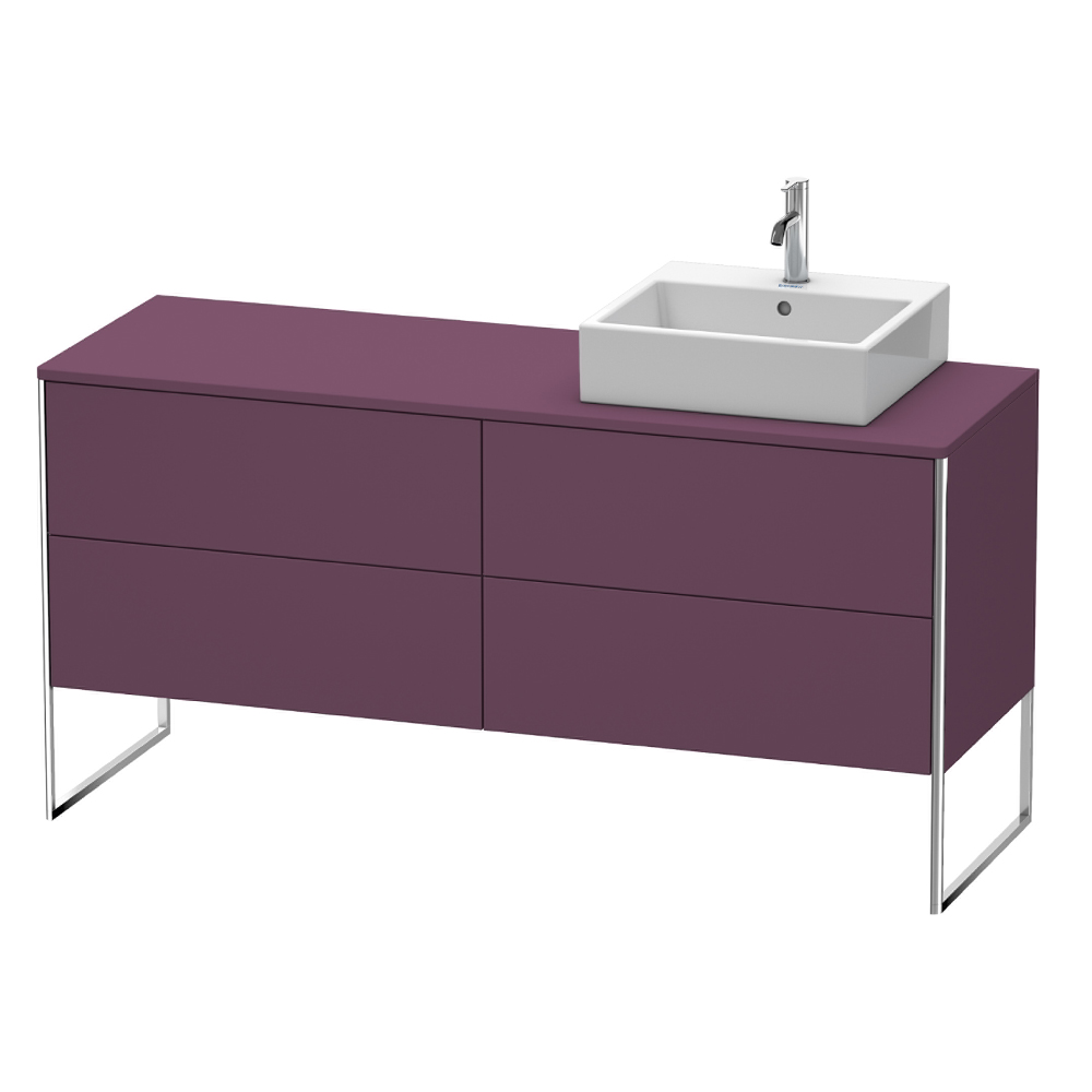 Duravit: XSquare: Vanity Unit With Cut-Out Left And 4 Drawers; 160cm, Stone Grey Satin Matt #XS4924L9292 1