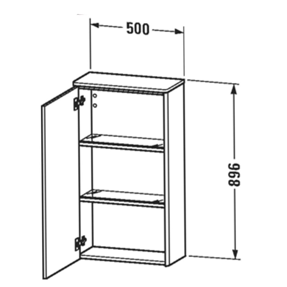 Duravit: XSquare: Semi-Tall Cabinet, Right Hinged: 1 Door; 50cm Aubergine Satin Matt #XS1303R9494