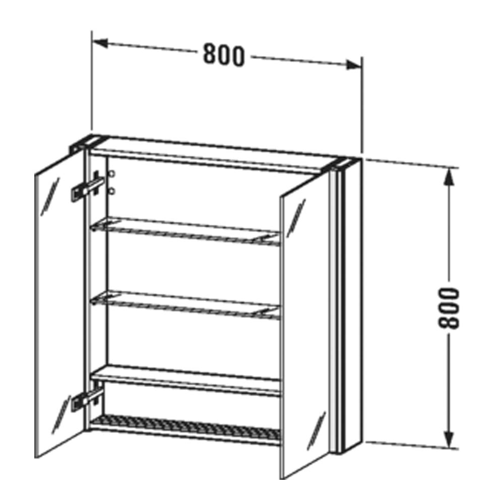 Duravit: XSquare: Mirror Cabinet: 80cm Aubergine Satin Matt #XS711209494