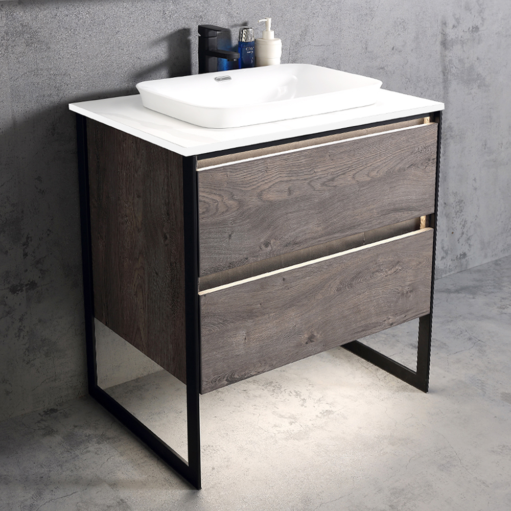 Ojans: Bathroom Furniture Set: Vanity Cabinet, 2-Drawers + Quartz Stone Top + Ceramic Basin (SN047) Ref.OJS127-800-WLN