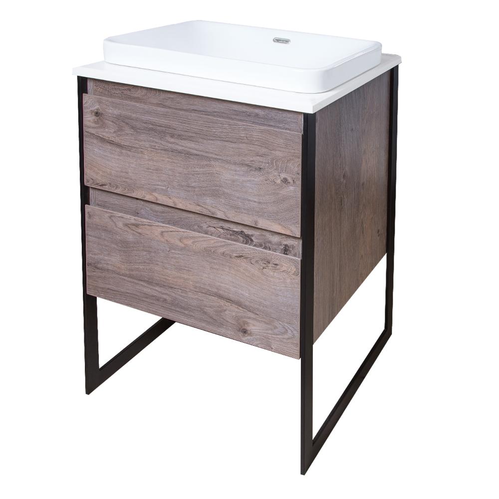 Ojans: Bathroom Furniture Set: Vanity Cabinet, 2-Drawers + Quartz Stone Top + Ceramic Basin (SN047) Ref.OJS127-600-WLN