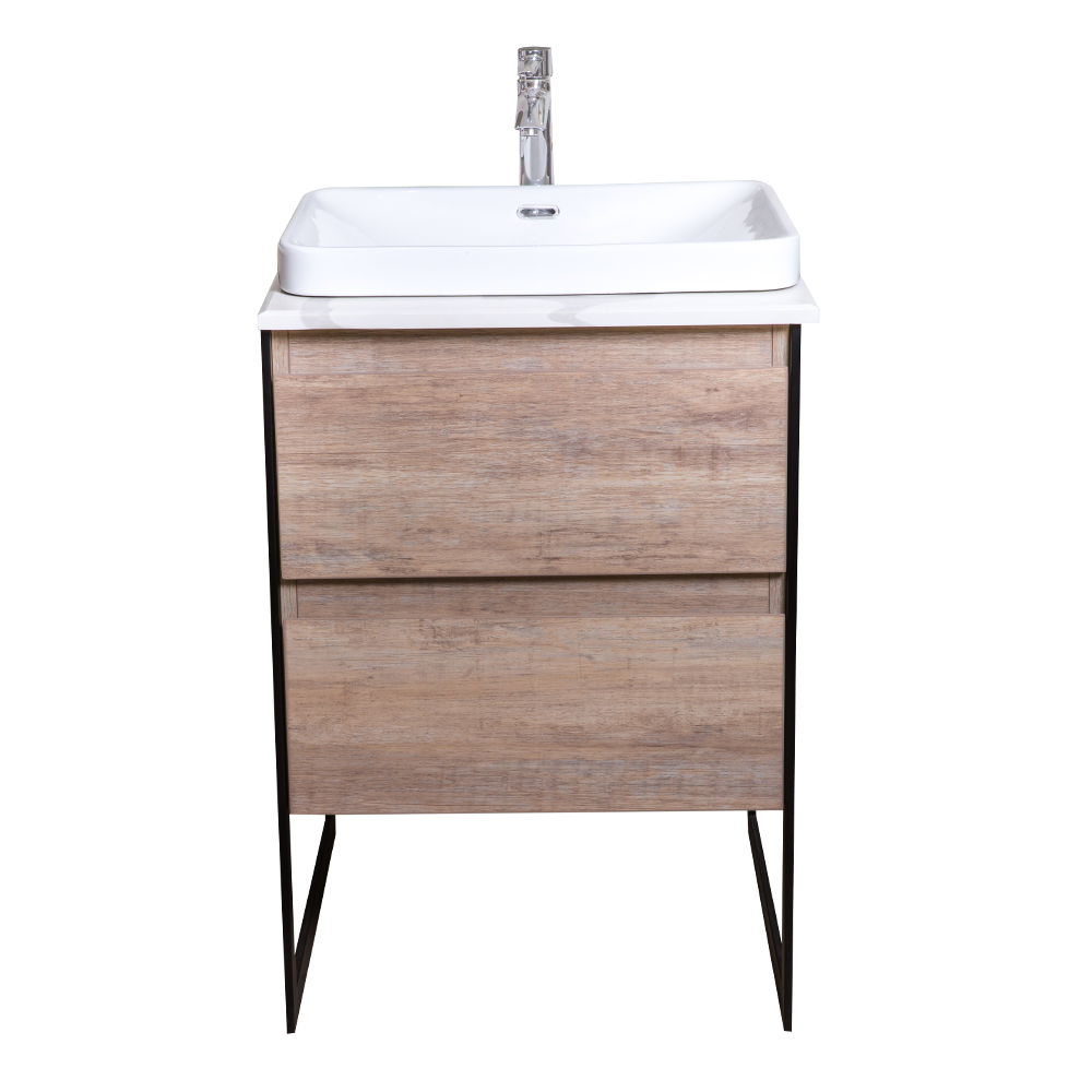 Ojans: Bathroom Furniture Set: Vanity Cabinet, 2-Drawers + Quartz Stone Top + Ceramic Basin (SN047) Ref
