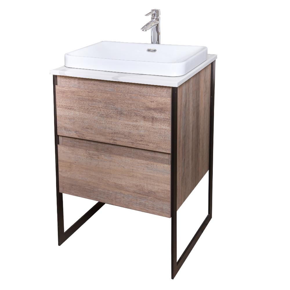 Ojans: Bathroom Furniture Set: Vanity Cabinet, 2-Drawers + Quartz Stone Top + Ceramic Basin (SN047) Ref.OJS127-600-PN