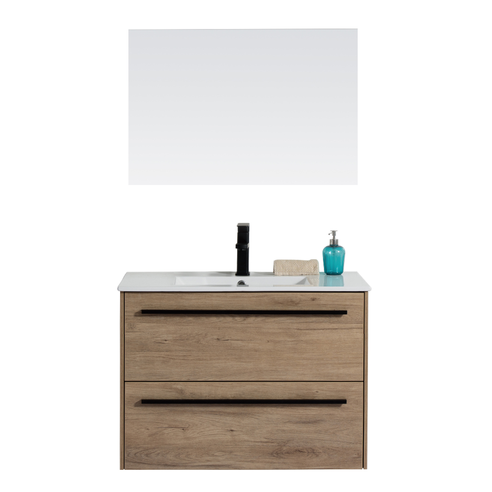Ojans: Bathroom Furniture Set: Vanity Cabinet + Mirror + Ceramic Basin (2060R) Ref