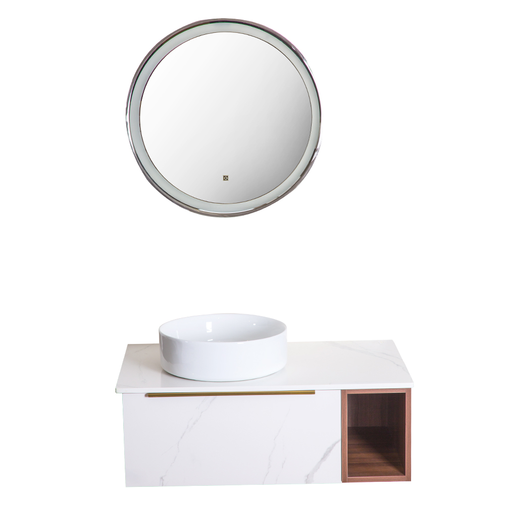 Yabiya: Bathroom Furniture Set: Vanity Cabinet + Mirror With Lights + Rock Board Top + Ceramic Basin; 90x50cm Ref
