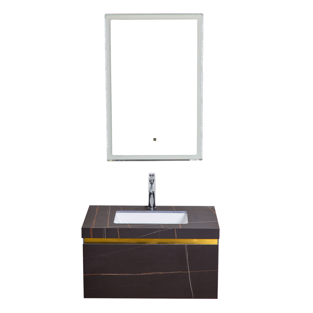 Yabiya: Bathroom Furniture Set: Vanity Cabinet + Mirror With Lights + Rock Board Top + Ceramic Basin; Ref
