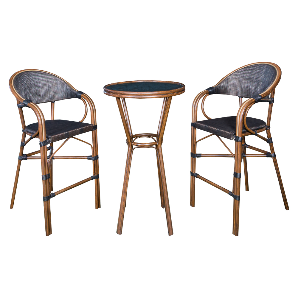 Champion: Round Bar Table (Glass Top) + 2 Bar Chairs #AS-6020H 1