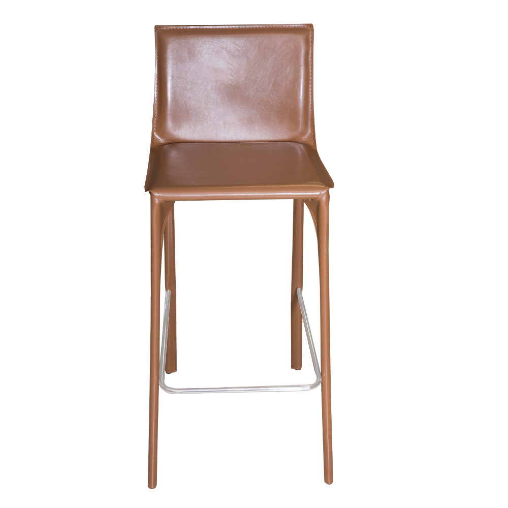 Leather Bar Stool With Chromed Footrest #ALC-2961-75 1