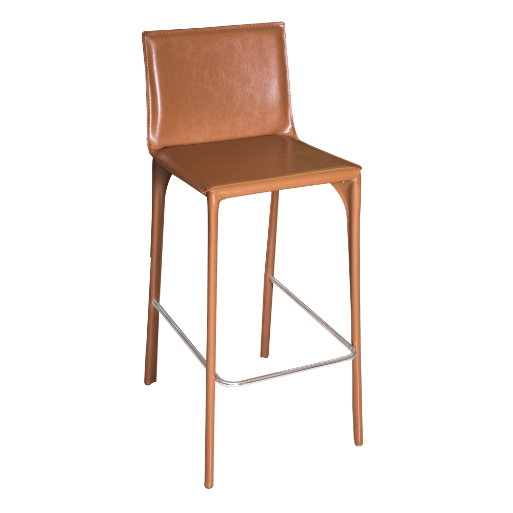 Leather Bar Stool With Chromed Footrest #ALC-2961-75