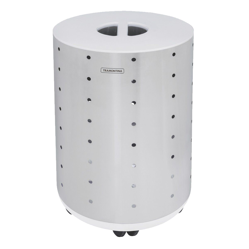 Tramontina: S/Steel Bella Laundry Basket With Casters; Scotch Brite And White Cover; 65kg #94540401 1