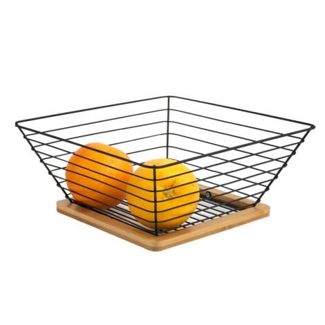 Bamboo/Iron Fruit Basket; (25x25x10)cm, Black 1