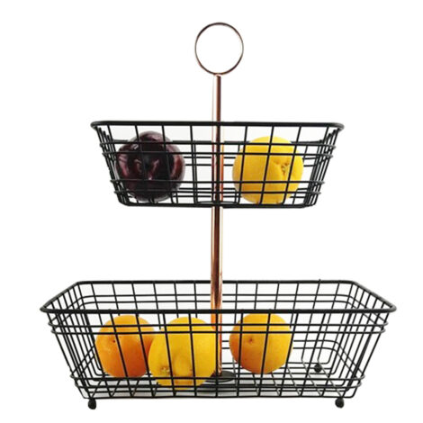 Iron Two Tiers Fruit Basket; (46
