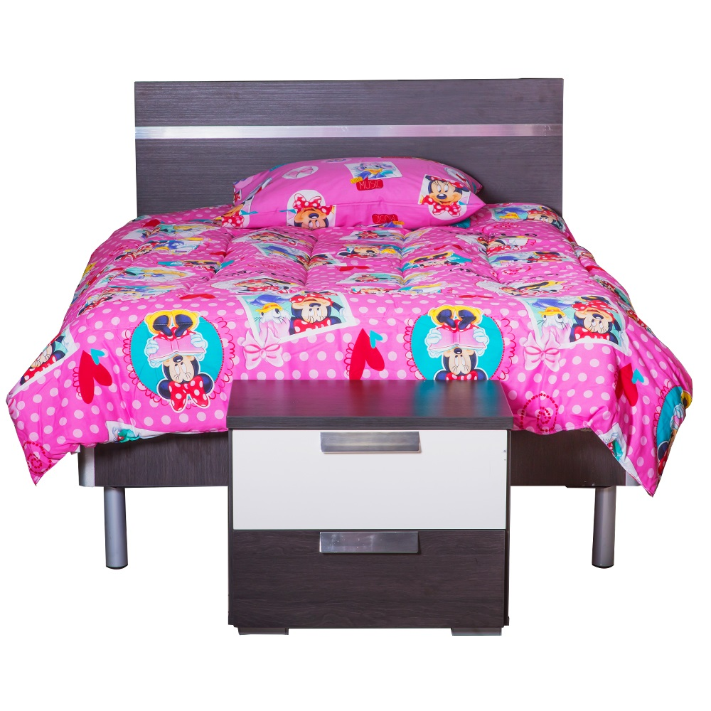 LINDEN: Wood Bed + Night Stand, 120×190 #NS01103-A/A2001 1