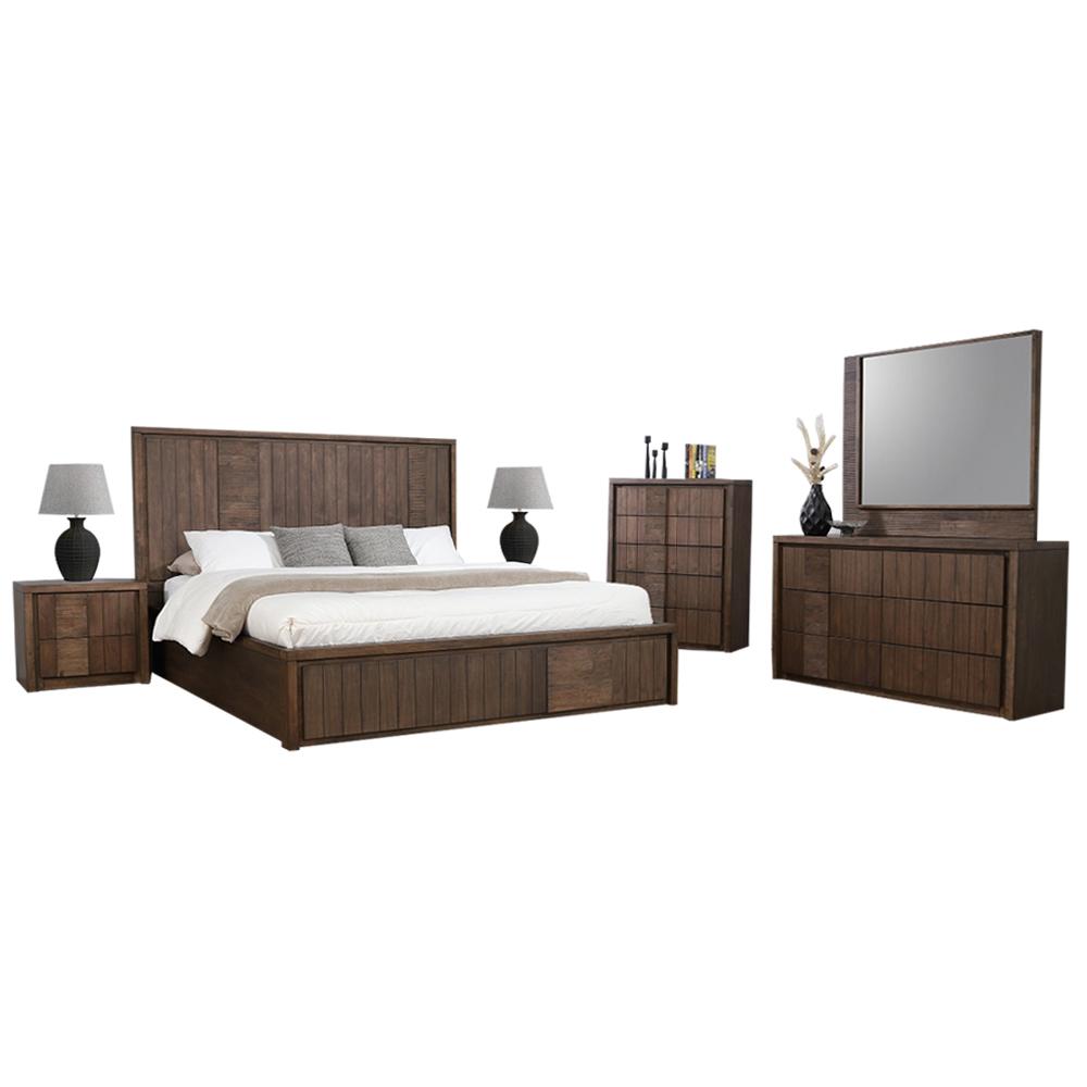 Kuraman Bedroom Set: King Bed + 2 Side Tables + Dresser With 1